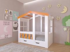Кровать-чердак Астра домик с ящиком Белый - Оранжевый