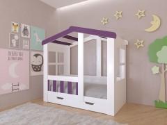 Кровать-чердак Астра домик с ящиком Белый - Фиолетовый
