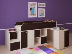 Кровать-чердак Астра мини Дуб молочный - Венге