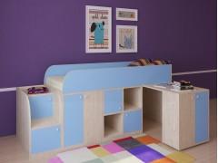 Кровать-чердак Астра мини Дуб молочный - Голубой