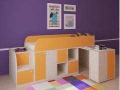 Кровать-чердак Астра мини Дуб молочный - Оранжевый