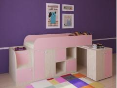 Кровать-чердак Астра мини Дуб молочный - Розовый