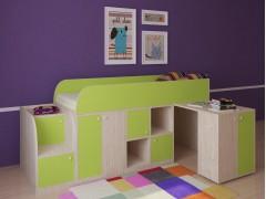 Кровать-чердак Астра мини Дуб молочный - Салатовый