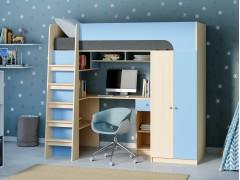 Кровать-чердак Астра 10 Дуб молочный/Голубой