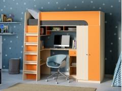 Кровать-чердак Астра 10 Дуб молочный/Оранжевый
