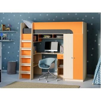 Детская кровать-чердак Астра 10 Дуб молочный/Оранжевый