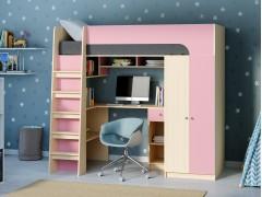 Кровать-чердак Астра 10 Дуб молочный/Розовый