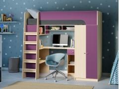 Кровать-чердак Астра 10 Дуб молочный/Фиолетовый