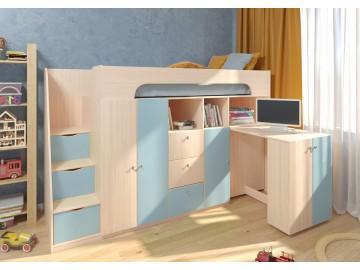 Детская двухъярусная кровать Астра 11 Дуб молочный/Голубой