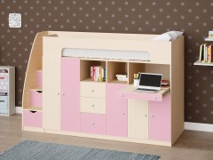 Двухъярусная кровать Астра 11 Дуб молочный/Розовый