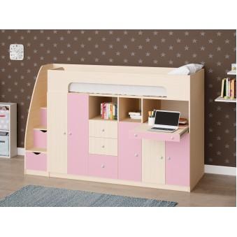 Детская двухъярусная кровать Астра 11 Дуб молочный/Розовый