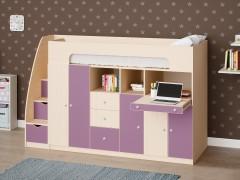 Двухъярусная кровать Астра 11 Дуб молочный/Фиолетовый