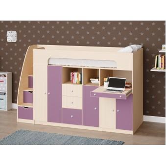 Детская двухъярусная кровать Астра 11 Дуб молочный/Фиолетовый