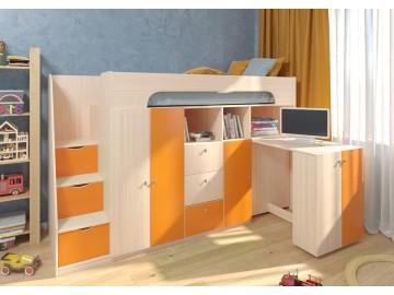 Детская двухъярусная кровать Астра 11 Дуб молочный/Оранжевый