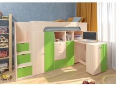 Двухъярусная кровать Астра 11 Дуб молочный/Салатовый