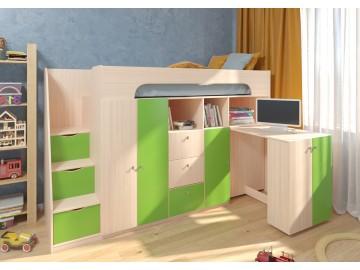 Детская двухъярусная кровать Астра 11 Дуб молочный/Салатовый