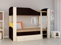 Двухъярусная кровать Астра 2 Дуб молочный - Венге