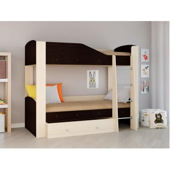 Детская двухъярусная кровать Астра 2 Дуб молочный - Венге