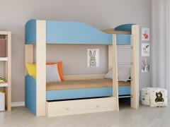 Двухъярусная кровать Астра 2 Дуб молочный - Голубой