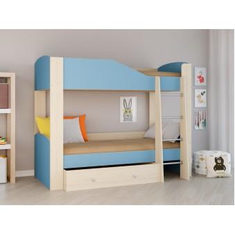 Детская двухъярусная кровать Астра 2 Дуб молочный -  Голубой