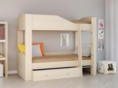 Двухъярусная кровать Астра 2 Дуб молочный полностью