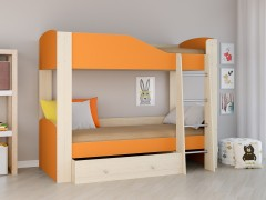 Двухъярусная кровать Астра 2 Дуб молочный - Оранжевый