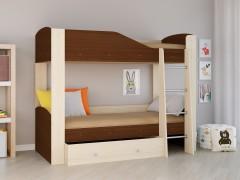 Двухъярусная кровать Астра 2 Дуб молочный - Орех