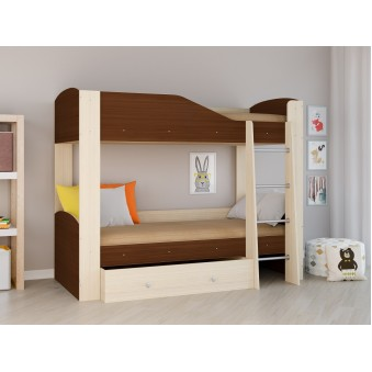 Детская двухъярусная кровать Астра 2 Дуб молочный - Орех