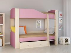 Двухъярусная кровать Астра 2 Дуб молочный - Розовый