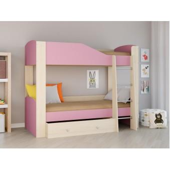 Детская двухъярусная кровать Астра 2 Дуб молочный - Розовый