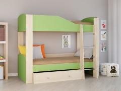 Двухъярусная кровать Астра 2 Дуб молочный - Салатовый