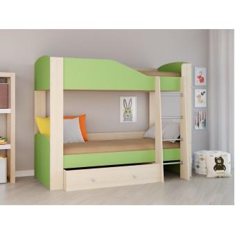 Детская двухъярусная кровать Астра 2 Дуб молочный - Салатовый