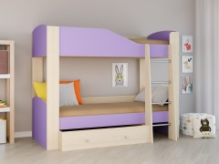 Двухъярусная кровать Астра 2 Дуб молочный - Фиолетовый