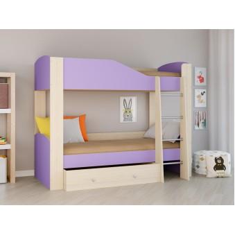 Детская двухъярусная кровать Астра 2 Дуб молочный - Фиолетовый