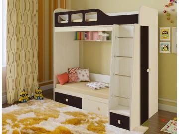 Детская двухъярусная кровать Астра 3 Дуб молочный - Венге