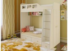 Двухъярусная кровать Астра 3 Дуб молочный полностью
