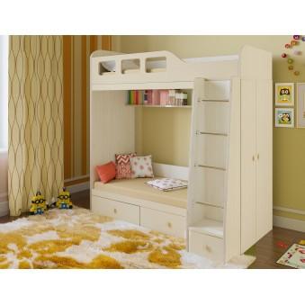 Детская двухъярусная кровать Астра 3 Дуб молочный