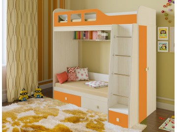Детская двухъярусная кровать Астра 3 Дуб молочный - Оранжевый
