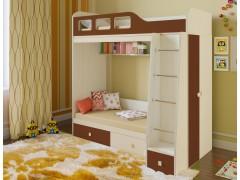 Двухъярусная кровать Астра 3 Дуб молочный - Орех
