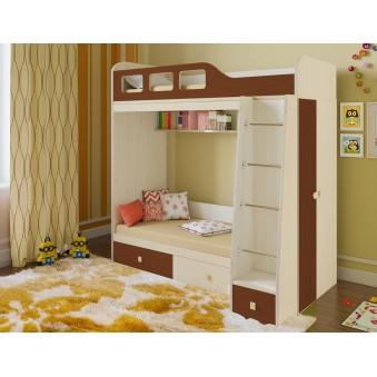 Детская двухъярусная кровать Астра 3 Дуб молочный - Орех