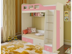 Двухъярусная кровать Астра 3 Дуб молочный - Розовый