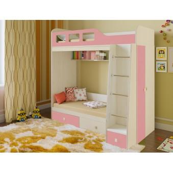 Детская двухъярусная кровать Астра 3 Дуб молочный - Розовый