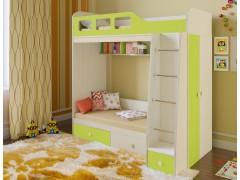 Двухъярусная кровать Астра 3 Дуб молочный - Салатовый