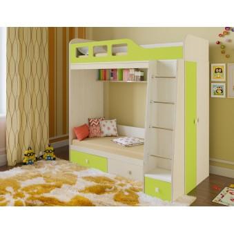Детская двухъярусная кровать Астра 3 Дуб молочный - Салатовый