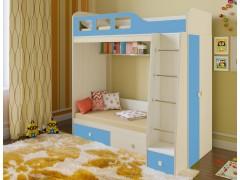 Двухъярусная кровать Астра 3 Дуб молочный - Голубой