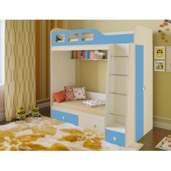 Детская двухъярусная кровать Астра 3 Дуб молочный - Голубой