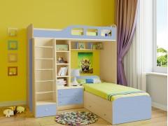 Двухъярусная кровать Астра 4 Дуб молочный - Голубой