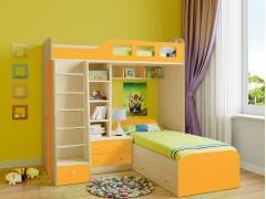 Двухъярусная кровать Астра 4 Дуб молочный - Оранжевый