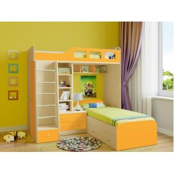 Детская двухъярусная кровать Астра 4 Дуб молочный - Оранжевый