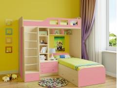 Двухъярусная кровать Астра 4 Дуб молочный - Розовый